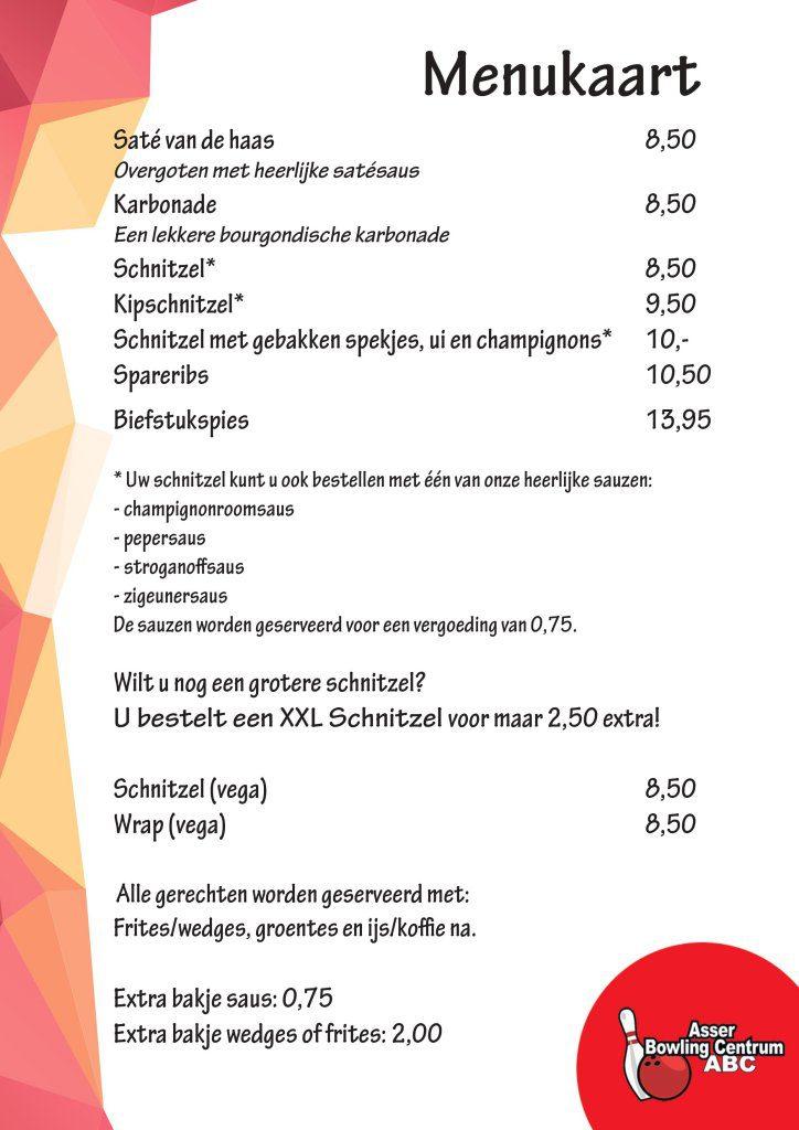 Menukaart restaurant Bowlen in Assen 2018