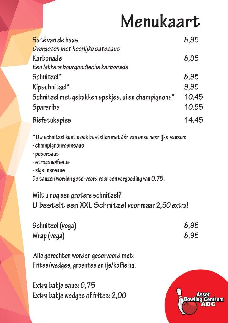 Menukaart restaurant Bowlen in Assen 10-2018